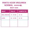 Maattabel pants normal vrouwen