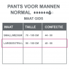 Maattabel pants normal mannen lxl